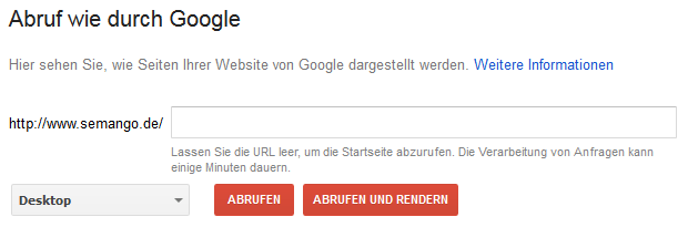 Search Console Abruf wie durch Google