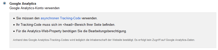 Bestaetigung durch Google Analytics