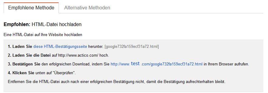 Bestaetigung durch eine HTML Datei