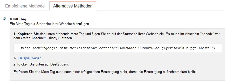 Bestaetigung durch einen HTML-Tag
