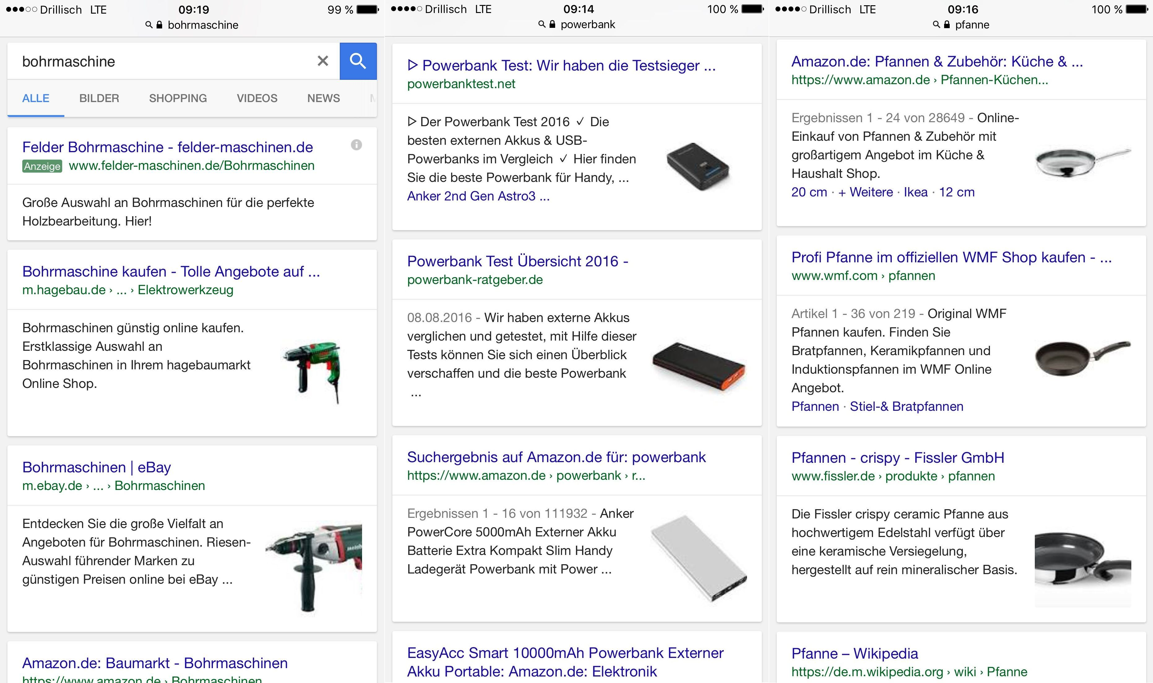 Google Mobile Suchanfragen Bohrmachine - Powerbank - Pfanne