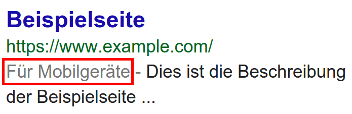 Google Suchergebnisse Mobile Label