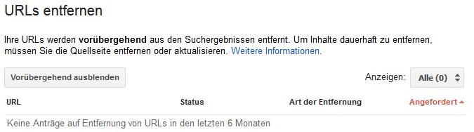 Search Console URLs entfernen